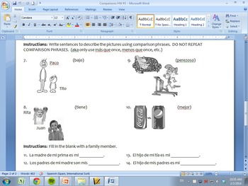 Spanish Comparisons Worksheets