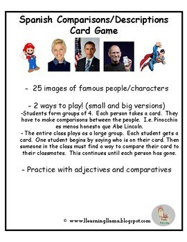 Spanish Comparisons and Adjectives Card Game