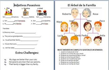 Spanish Comparisons and Family Vocab Review Stations