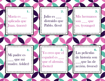 Spanish Comparisons of Inequality Task Cards