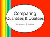 Spanish Comparing Quantity and Qualities PowerPoint Slideshow Presentation
