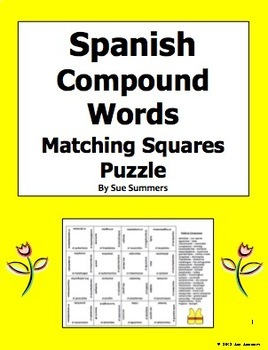 Spanish Compound Words 4 x 4 Matching Squares Puzzle