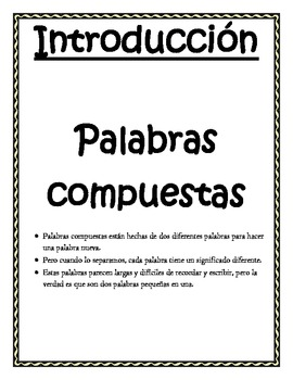 Spanish Compound Words Activity - Palabras compuestas