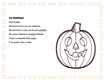 Spanish Comprehension For October