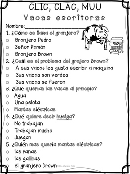 Spanish Comprehensive Test: CLIC, CLAC, MUU Las vacas escritoras