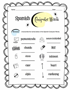 Spanish Computer & Tech Words Worksheet Packet
