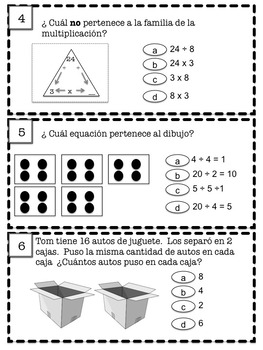 Spanish: Conceptos básicos de división para centros de matemática (3ro)