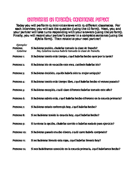 Spanish Conditional Perfect Rotating Interviews