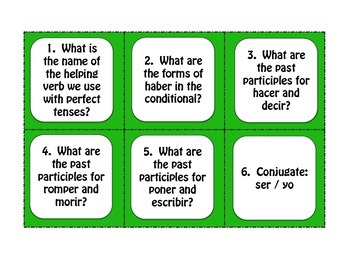 Spanish Conditional Perfect Task Cards