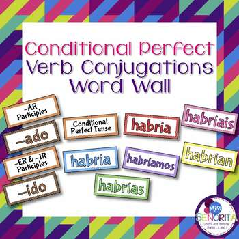 Spanish Conditional Perfect Tense Verb Conjugations Bulletin Board Set
