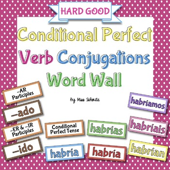 Spanish Conditional Perfect Tense Verb Conjugations Word Wall {HARD GOOD}