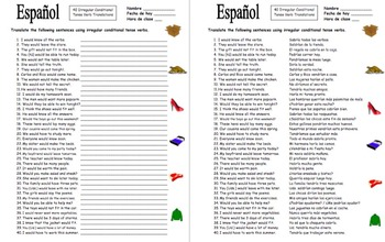 Spanish Conditional Tense Irregular Verbs 40 Translations