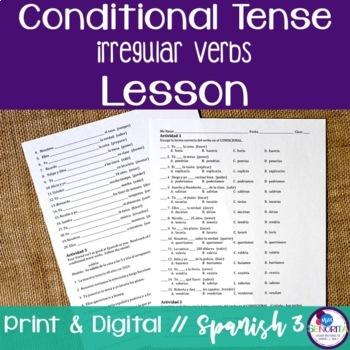 Spanish Conditional Tense Irregular Verbs Lesson