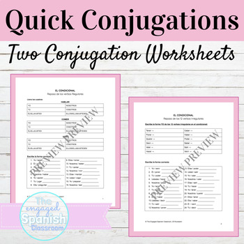 Spanish Conditional Tense Quick Conjugations Worksheets