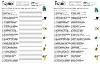 Spanish Conditional Tense Regular Verbs 40 Translations