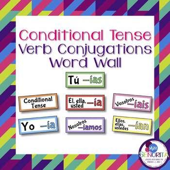 Spanish Conditional Tense Verb Conjugations Word Wall & Bulletin Board Set