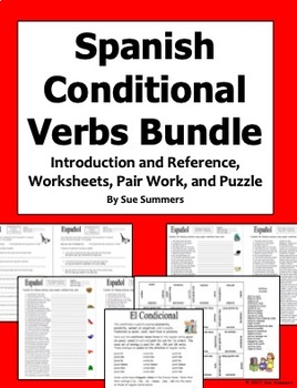Spanish Conditional Tense Verbs Bundle - Worksheets, Introduction, and Puzzle