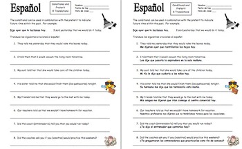 Spanish Conditional Tense Verbs With the Preterit Worksheet - 8 Sentences