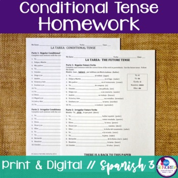 Spanish Conditional Tense Homework - Regular & Irregular Verbs