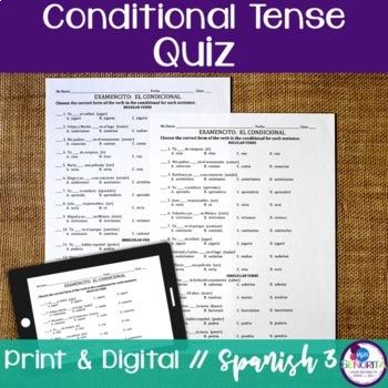Spanish Conditional Tense Quiz - Regular & Irregular Verbs
