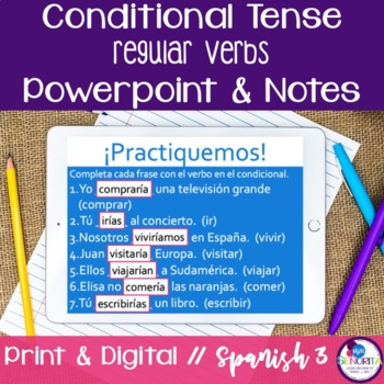 Spanish Conditional Tense Regular Verbs Powerpoint & Notes