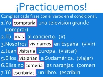 Spanish Conditional Tense Regular Verbs Powerpoint & Notes