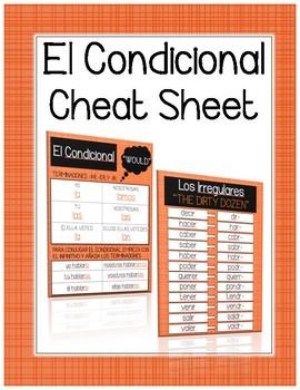 Spanish Conditonal Tense Cheat / Reference Sheet