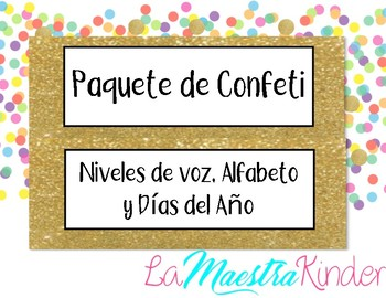 Spanish Confetti Bundle, Days of the Year, Alphabet & Voice Levels