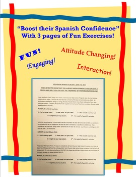 Spanish Confidence Booster Mini Packet - First Day Exercises