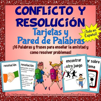 Spanish Conflict Resolution Cards and Word Wall