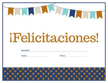 Spanish Congratulations Certificate - Felicitaciones