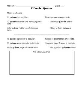Spanish Conjugating Querer Notes