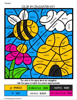 Spanish Conjugation Coloring Regular Present Tense Verbs Lesson Fun Activity