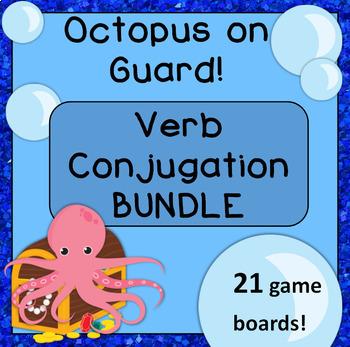 Spanish Conjugation Game Boards: Octopus on Guard! BUNDLE