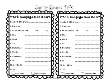Spanish Verb Conjugation Game Activity for All Verbs in All Tenses