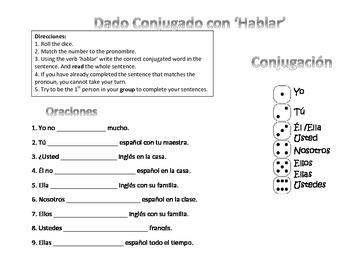 Spanish Conjugation Game - Hablar