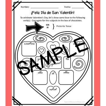 Spanish Valentine's Day Conjugation Hearts