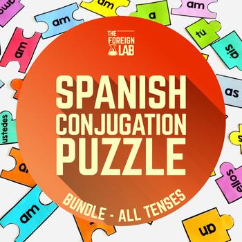 Spanish Verb Conjugation Puzzles Bundle - 72 Puzzles, All Tenses