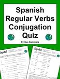 Spanish Conjugation Quiz or Worksheet Regular Verbs Present Tense