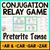 Spanish Conjugation Relay Game Preterite AR CAR GAR ZAR verbs | Spanish Activity