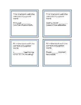 Spanish Conjugation Task Cards