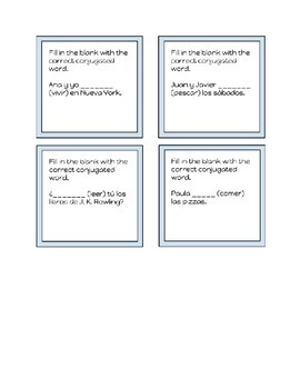 Spanish Conjugation Task Cards