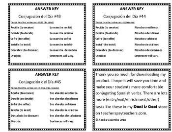 Spanish Conjugation of the Day 31-45 (Conjugación del Día 31-45)