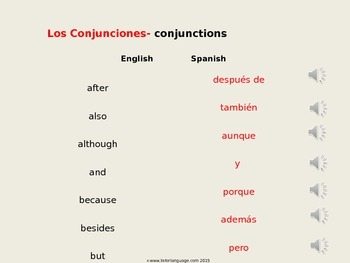 Spanish Conjunctions - audio file and game