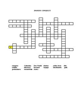Spanish Conquest Bingo and Word Challenge Puzzle