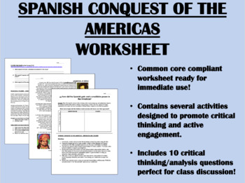 Spanish Conquest of the Americas worksheet - Global/World History Common Core