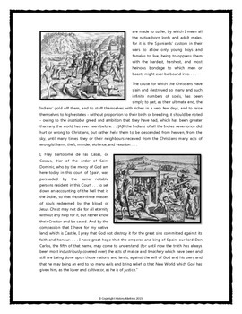 Spanish Conquistadors - Primary Source, Questions, Writing Assignment