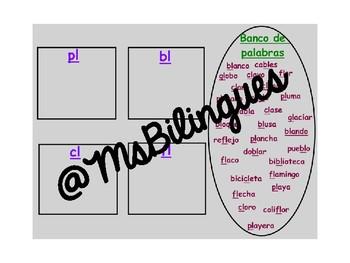 Spanish Consonant Cluster pl, cl, bl, fl Mimio Board Activity