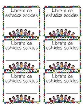Spanish Content Area Journal and Folder Labels for Bilingual Classrooms