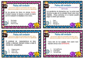 Spanish Context Clues Task Cards   SET 5: ANTONYMS / Antónimos